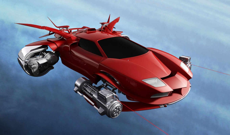 графика, будущее, авто, полет, фантастика, машина, летающая,