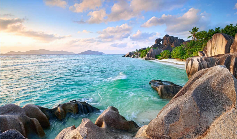 природа, остров, небо, ocean, скалы, острова, пальмы, сейшельские, горы,