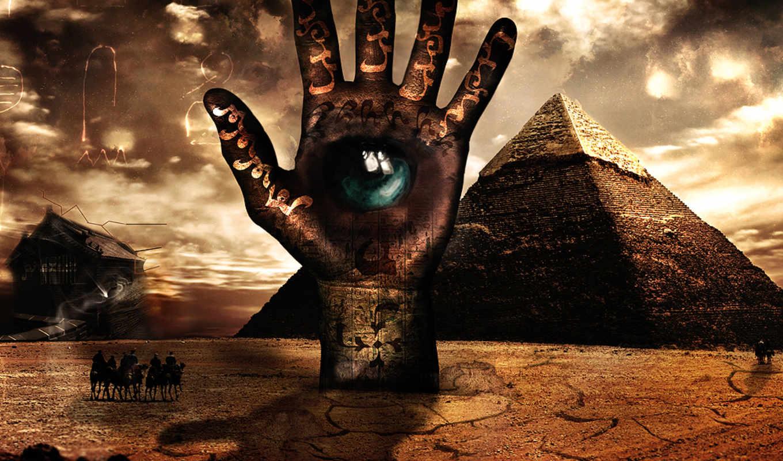 креатив,рука,глаз,пирамиды