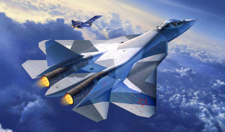 revell, sukhoi, истребитель, российский, самолёт, сухой, модель, t-50,