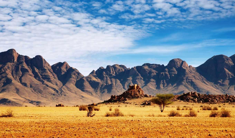 саванна, горы, кустарники, песок, небо, голубое, landscape, облака,