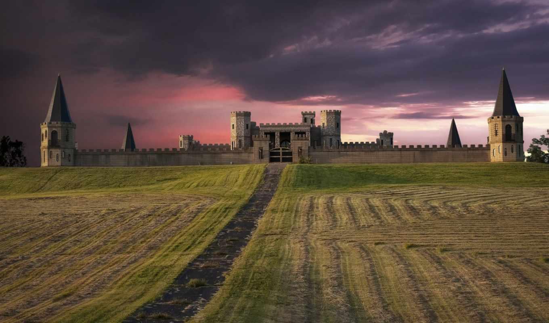замок, поле, fortress, сша, розовый, закат, вечер, небо,
