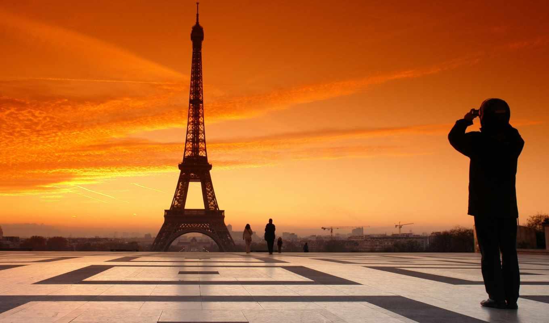 эйфелева, башня, франция, париж,