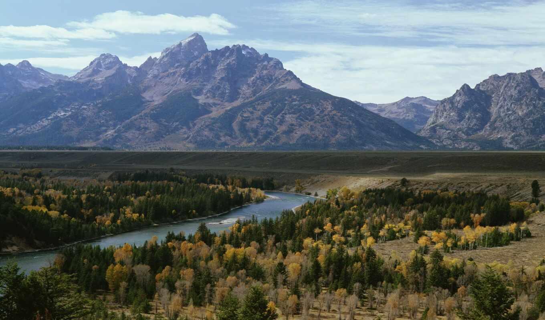 national, park, teton, grand, река, wyoming, overlook