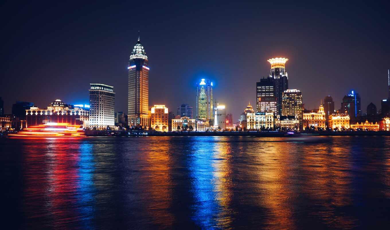 ночь, туннель, город, отражение, путь, water, bund, клиент, заработать