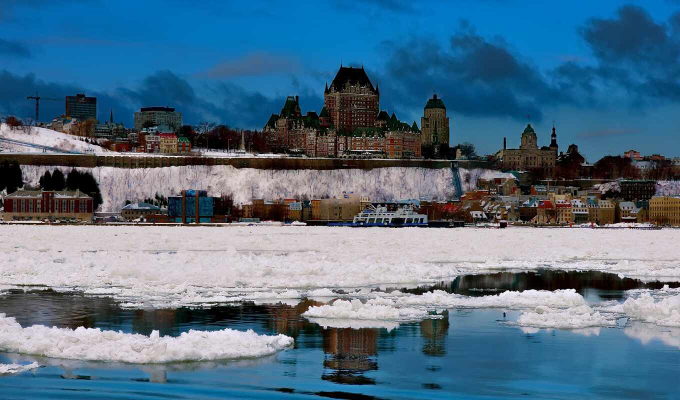 quebec, город, канада, winter, fond, paysage, chateau