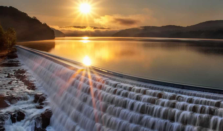 платина, закат, пейзаж, озеро, картинка,