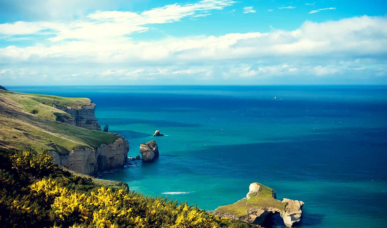 море, природа, остров, landscape, rock, нояб, побережье, ocean, water, берег, небо,