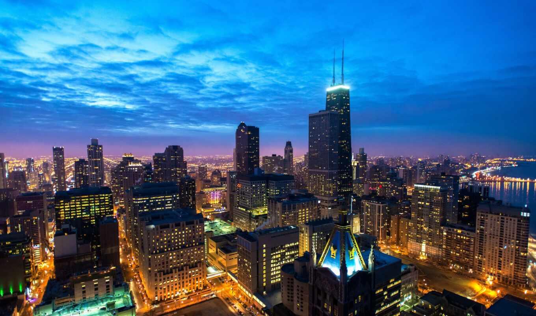город, blue, hour, chicago, building, панорама, небоскрёба, ночь