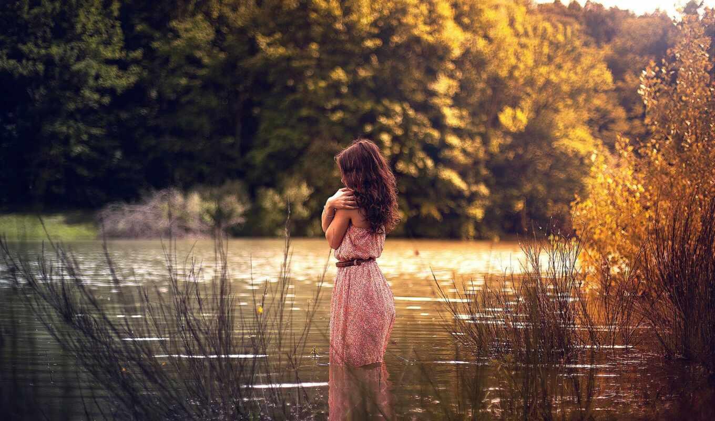 water, девушка, платье