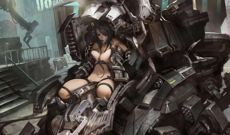 металл, робот, арт, девушка, машина, обнажена, провода, hd, фантастика,