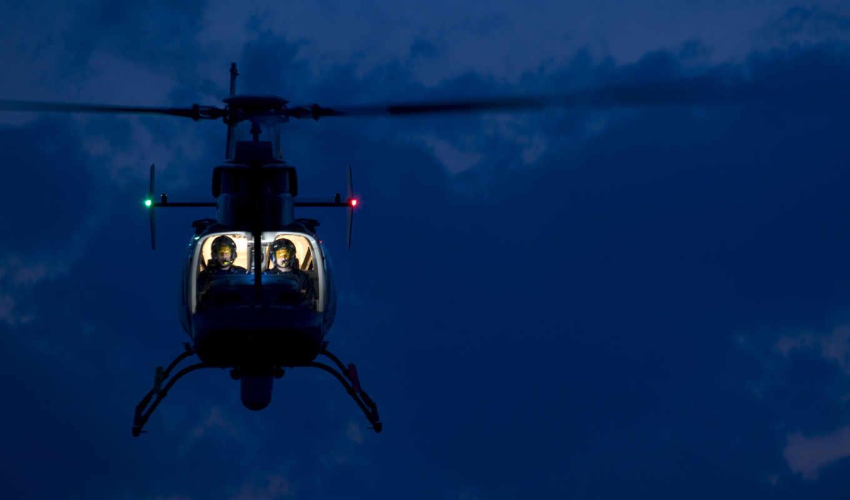 вертолет, огни, кабина, пилот, helicopters,