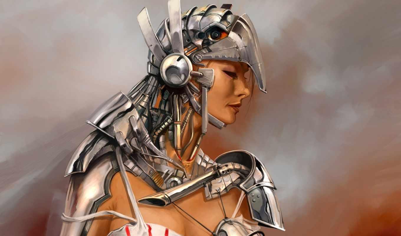 девушка, рисунок, металл, armor, костюм, female, fantasy, warrior, image, fonds, simon, ecran, you, science, fiction,