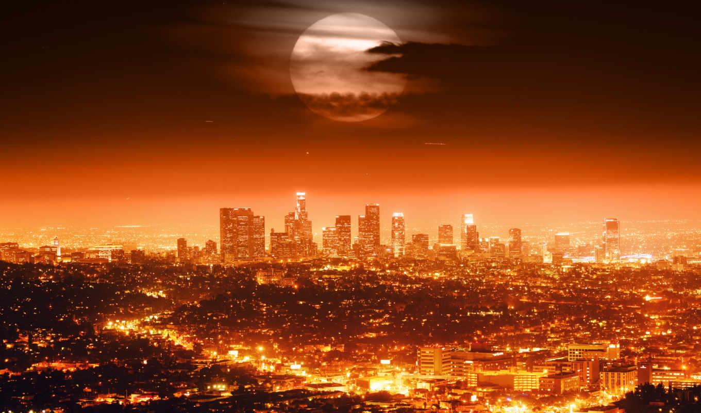 los, анджелес, луна, usa, полная, город,
