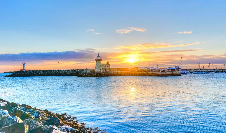 howth, дублин, картинка, ireland, небо, lighthouse, закат, море,