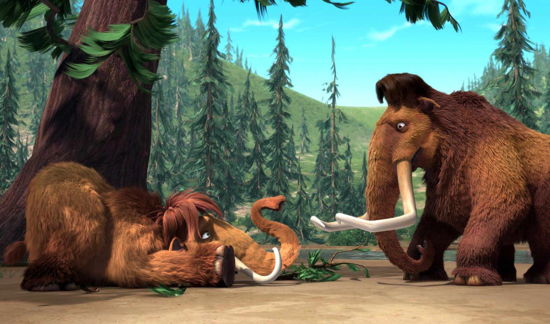 период, glacial, mammoth, мамонты, мэнни, cartoon, бивни, элли,