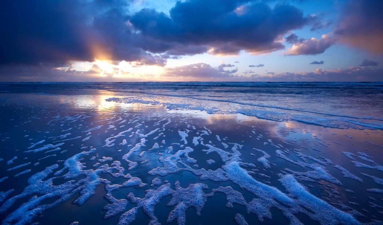 небо, море, oblaka, закат, берег, песок, пляж, depth,
