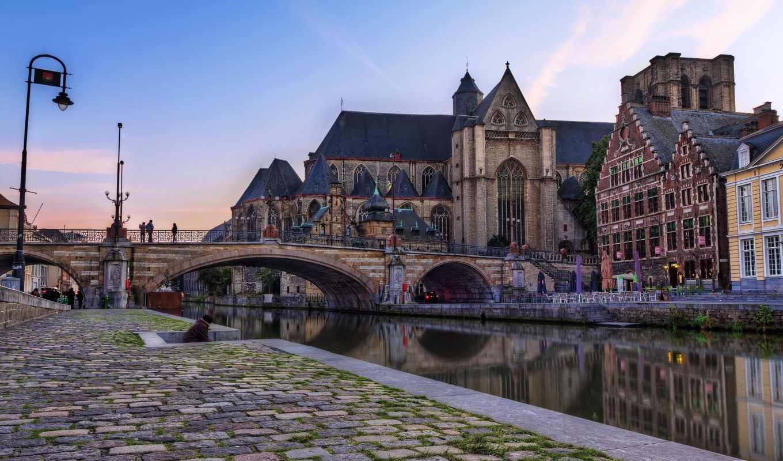 брюссель, бельгия, канал, мост,