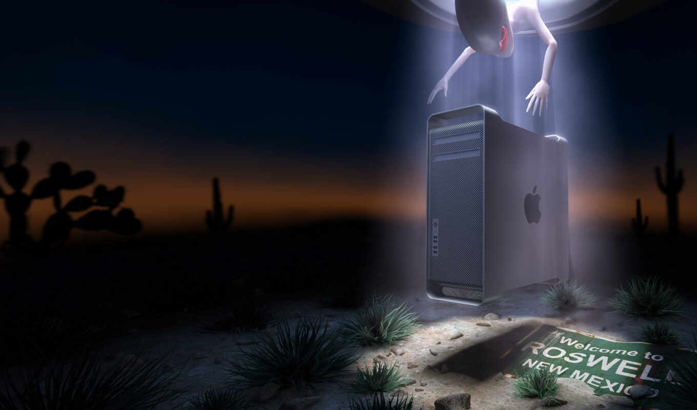 apple, new, mexico, roswell, пустыня, alien, картинка, inc, разные, mac, night, ufo,
