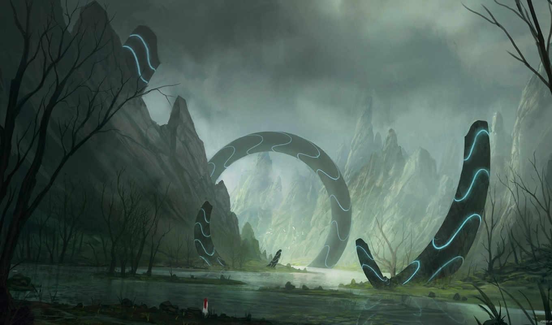 арт, blinck, пейзаж, река, горы, сооружение, гигантское, world, fantastic, fantasy,
