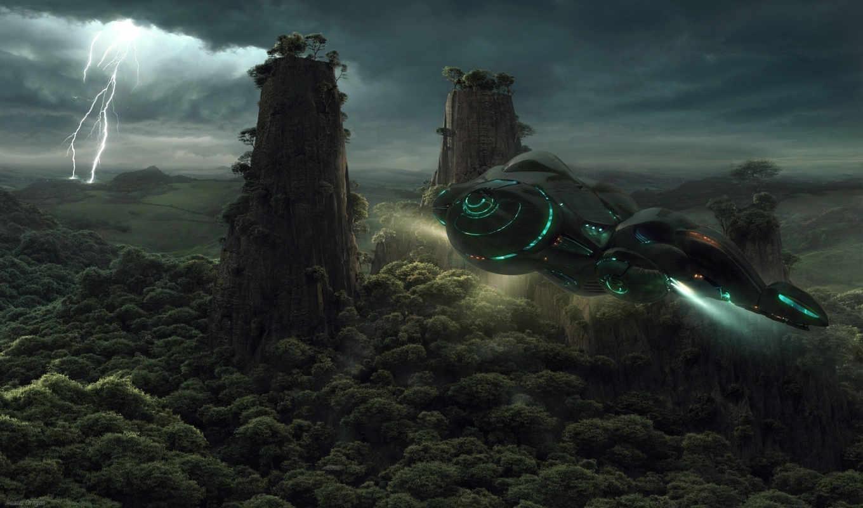 spacecraft, space, sci, free, корабль, planet, jieanu, forest, молния, dragos, spaceship, futur, jungle, over, download, this, star, drydock, reason, fantasy, звездолёт, abstract, транспорт, деревья,