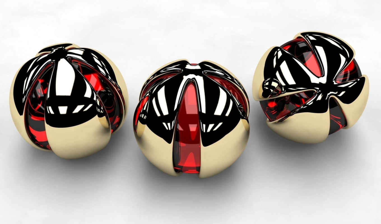 шары, red, spherical, три, стекло, форма, металл, trance,