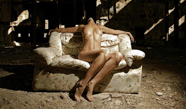 девушка, диван, постановка,