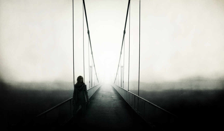 мост, картинка, туман, одиночка, вид, настроение, landscape,
