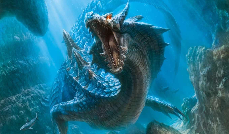 нравится, дракон, hunter, monster, underwater, world, акулы, зубы, фантастика,