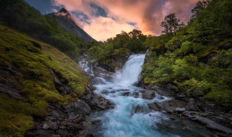 овраг, река, норвегия, skjelstad, feature, гора, растительность, водопад, norwegian