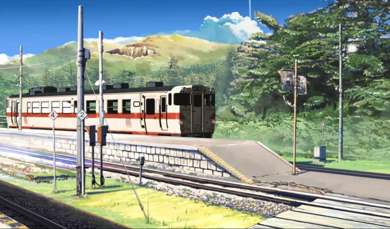 станция, поезд, рельсы, лес