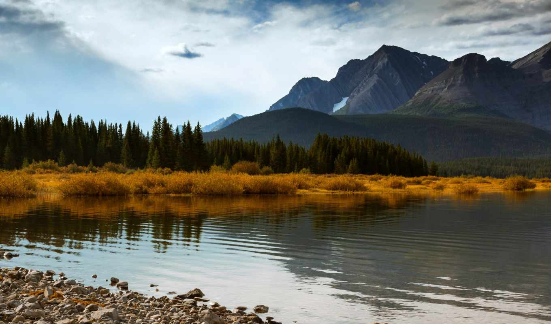 alberta, canada, autumn, mountains, trees, lake, blue, forest, картинку, небо, облака, природа, голубое, горы, деревья,