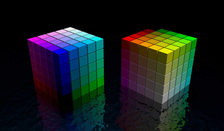 cubes, кубики, отражение, цвет, black, colorful, cube, rainbow, смотрите,