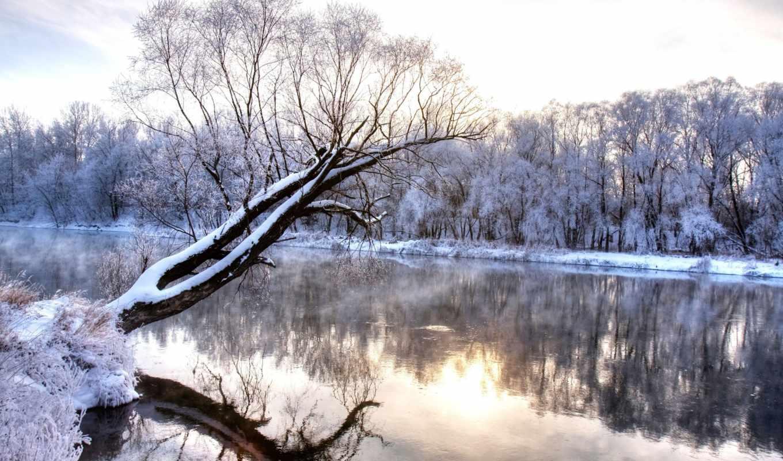 winter, лес, снег, река, иней, нов, холод, деревья, горы,
