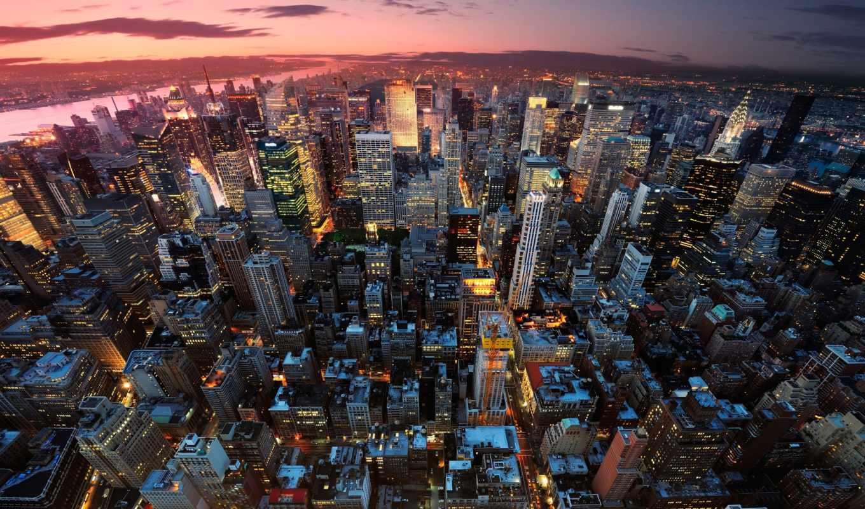 город, города, new, york, взгляд, aerial,