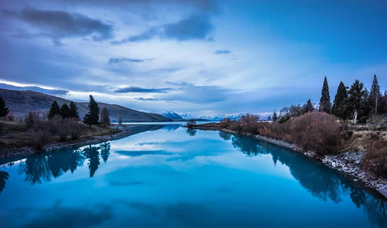 озеро, отражение, горы, высоком, марта,