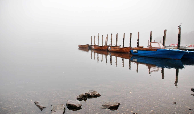 озеро, misty, лодка, share, you,