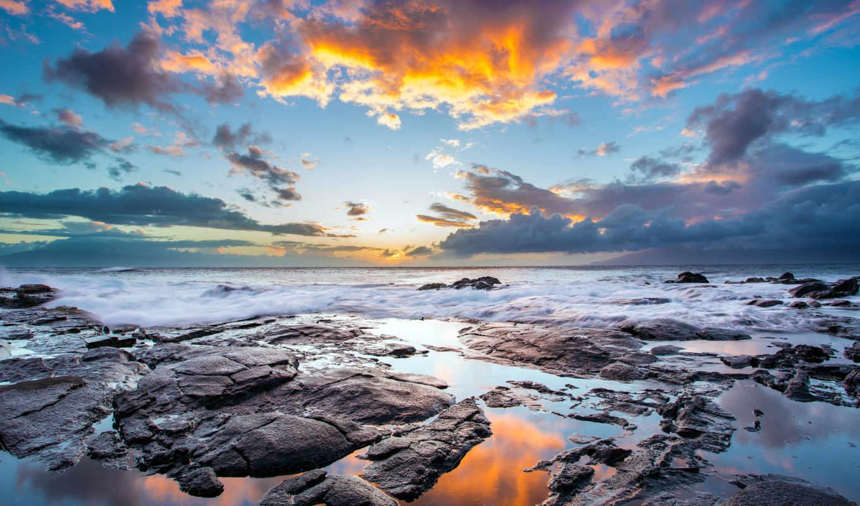небо, закат, вечернее, море, со, красивое, каменистым,
