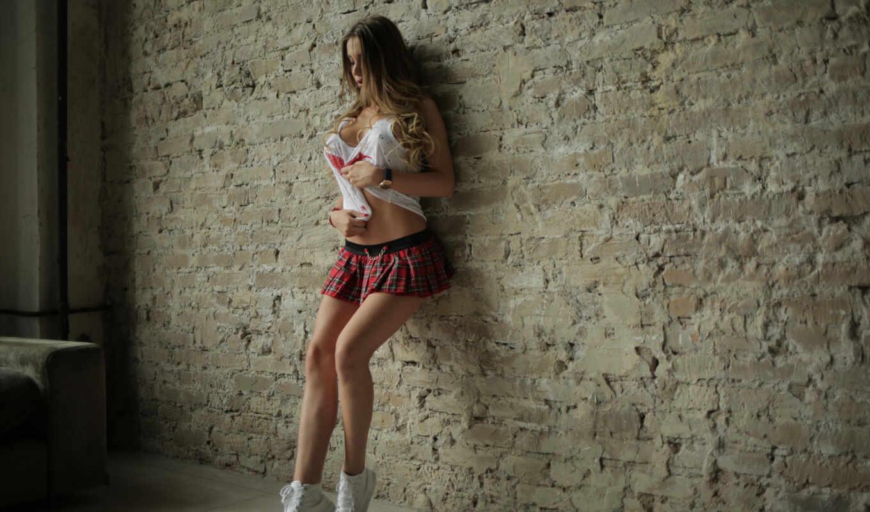 девушка, юбка, волосы, malegra, стена, рубашка, leg, рисунок, user, тематика