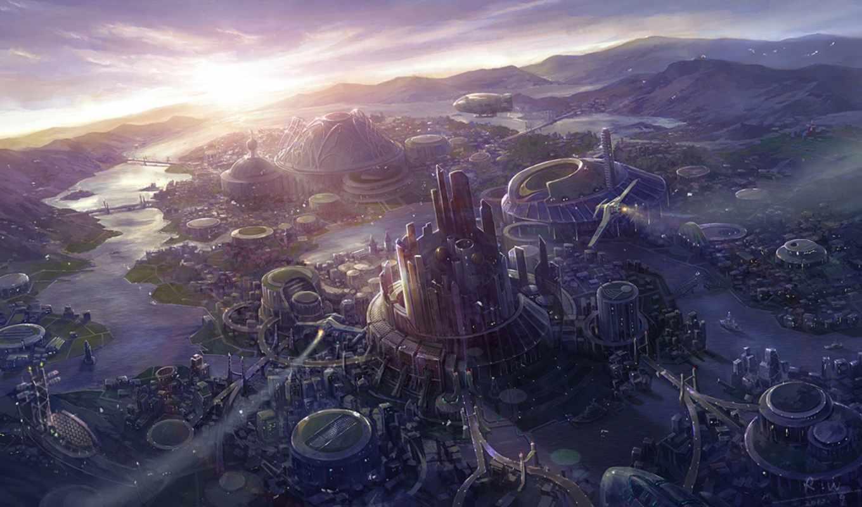 много, арт, картинка, город, но, монитора, photoshop, fantasy, фантастические, wang, переходов, изображением, внеземных, фирэ, droidik, цивилизаций, helsinki, rui,