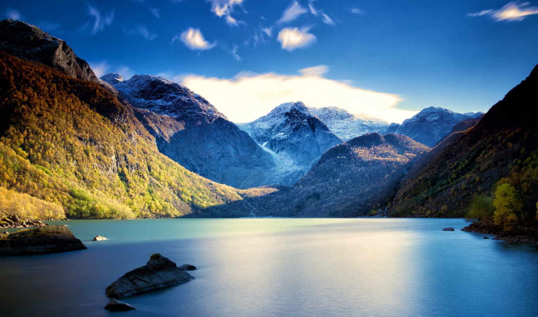 озеро, пейзаж, горы, картинка, картинку, landscapes,