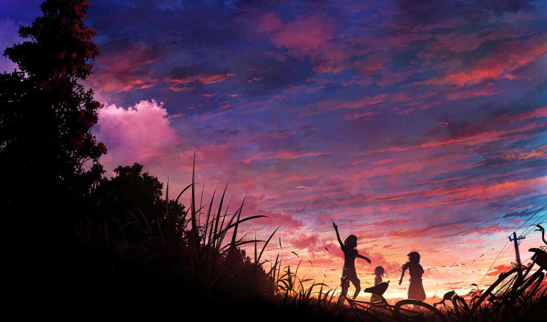 трава, закат, велосипед, дети, деревья, птицы, небо, картинку, аниме, картинка,