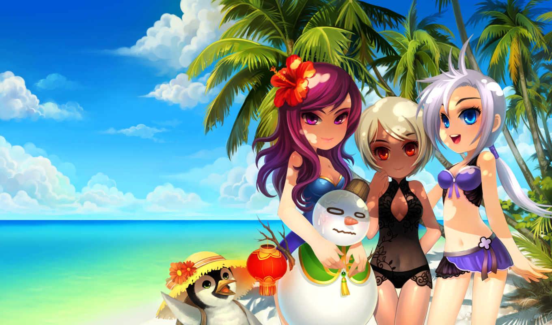 пляж, девушки, море, anime, пальмы, снеговик, красивые,