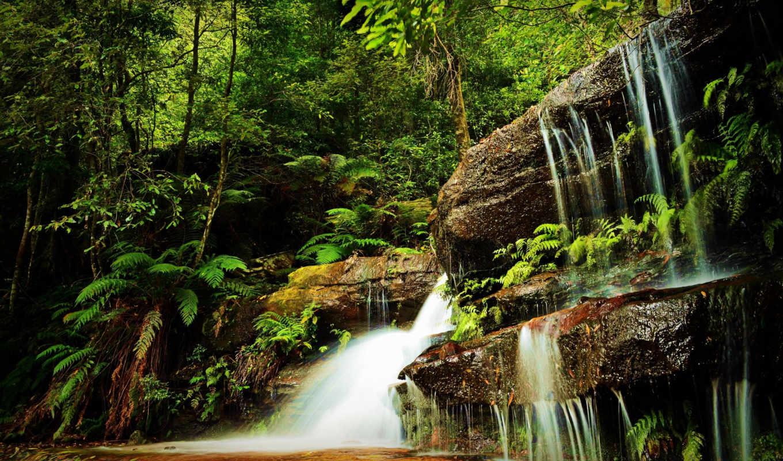 водопад, водопады, лес, скалы, фотопанно, красивые, скинали, деревья, природа,