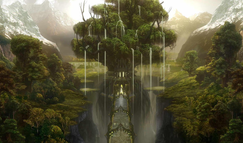 дерево, мост, горы, лес, ущелье, castle,