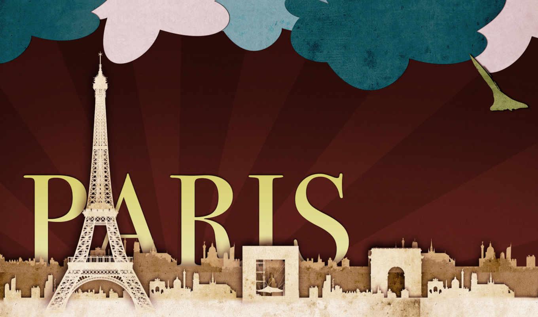 париж, закат, cкачать, изображение, башня,