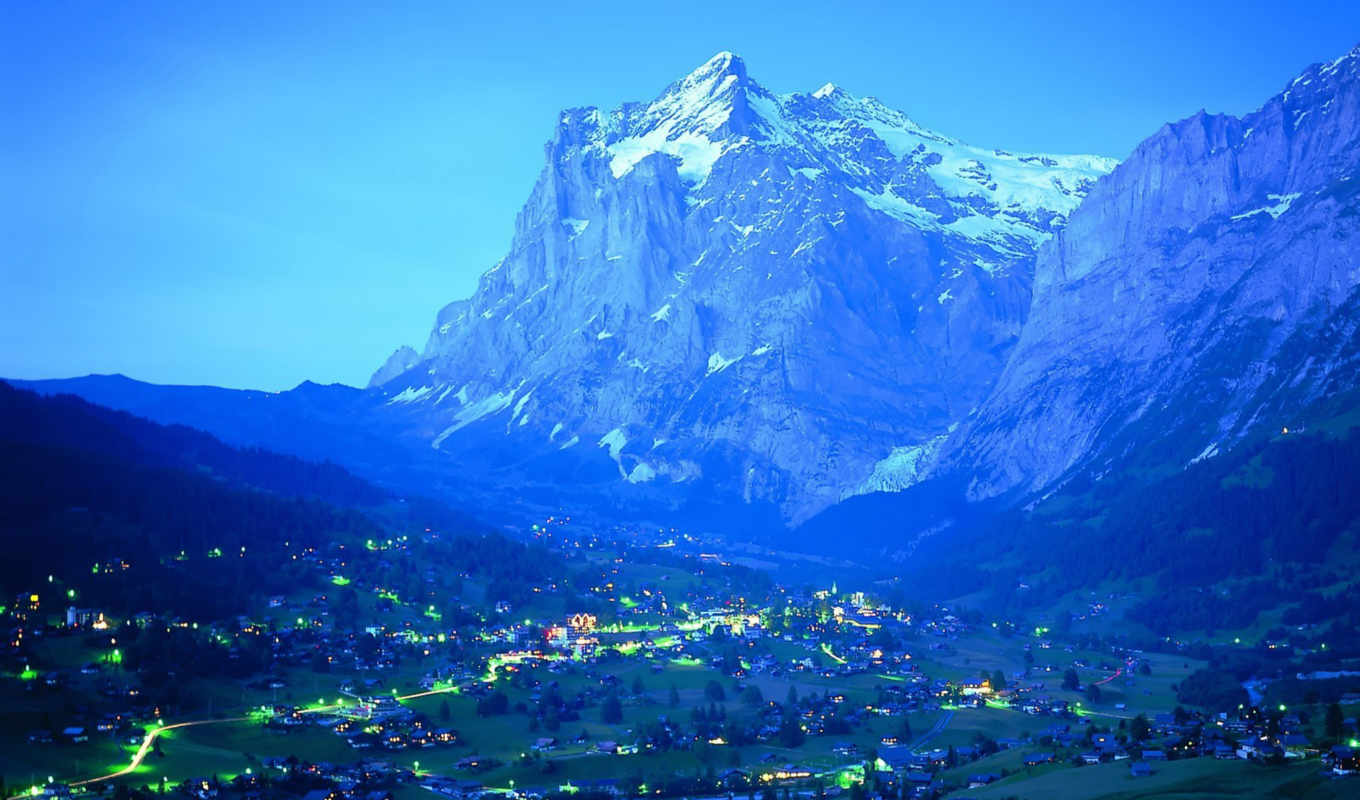 mountains, огни, гора, вечер, nature, blue, desktop, night, scenes, foot, beauty, cities,