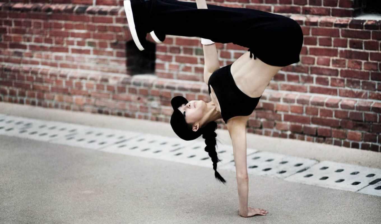 спорт, девушка, брейк, данс, просмотреть, би, герл, стойка, отражение, бмв, лужа, упражнения, мяч, фриз, баскетбольный,