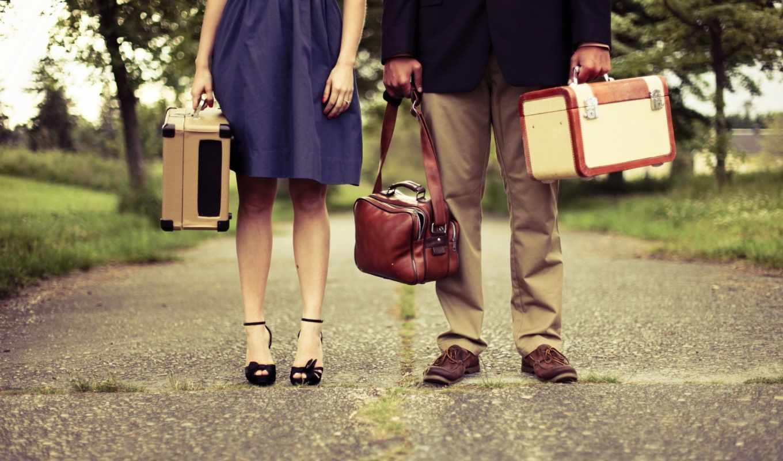 он и она, нерешительность, ноги, travel, дорога, деревья, сумки