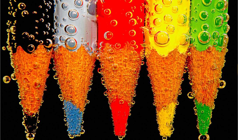 pencil, макро, пузырьки, water,
